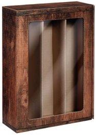 Dárková krabice VINTAGE s okénkem na 3 láhve, 360x250x95 mm