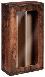 Dárková krabice VINTAGE s okénkem na 2 láhve, 360x192x95 mm
