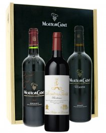 Rothschild Mouton Cadet Rouge 3 vína v dřevěném boxu
