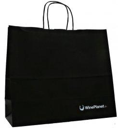 Papírová taška černá s logem Wineplanet (32x13x28) - kroucená papírová ouška