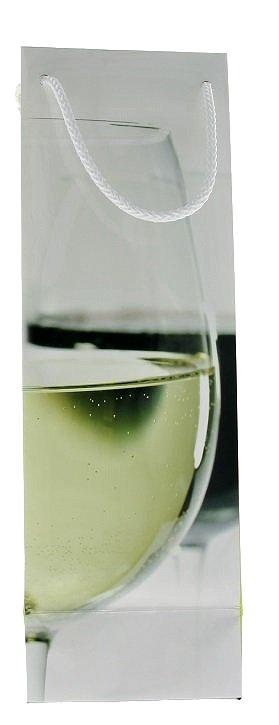 Dárková taška papírová se sklenicí, na 1 láhev