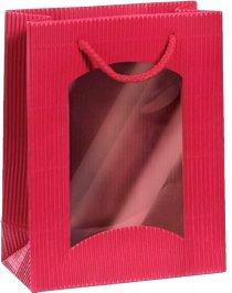 Dárková taška červená Mini s okénkem na 1 láhev 170 x 85 x 220 mm