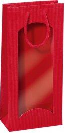 Dárková taška červená s okénkem na 2 láhve 170x85x360mm