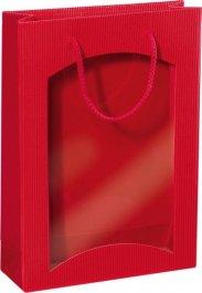Dárková taška červená s okénkem na 3 láhve 270x85x360mm