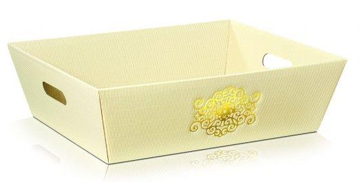 Dárkový koš Signum 4úhelník,  krémový se zlatým vzorem - velký: 435x340x130mm