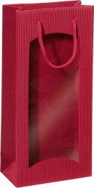 Dárková taška bordová s okénkem na 2 láhve 170x85x360mm