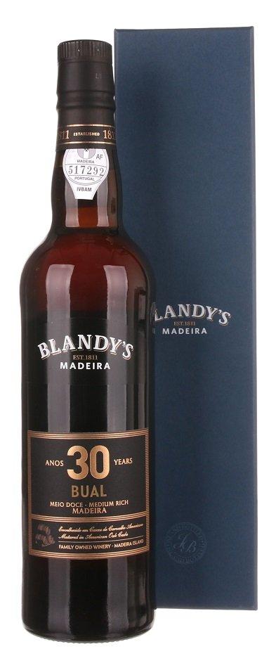 Blandy's Madeira Bual 30 Y.O. Medium Rich 0.5L, fortvin, bl, sl, DB